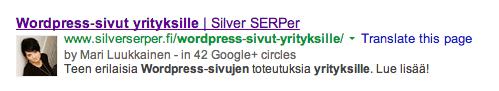 Meta-description näkyvillä Googlessa.